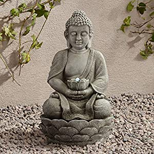 Sitting Buddha 22″ High Led Faux Stone Outdoor Fountain
