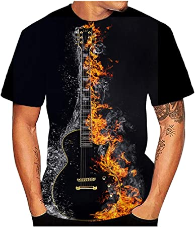 Men/'s Women Guitar funny 3D Graphic Print Casual Short Sleeve Tees Tops T-Shirt
