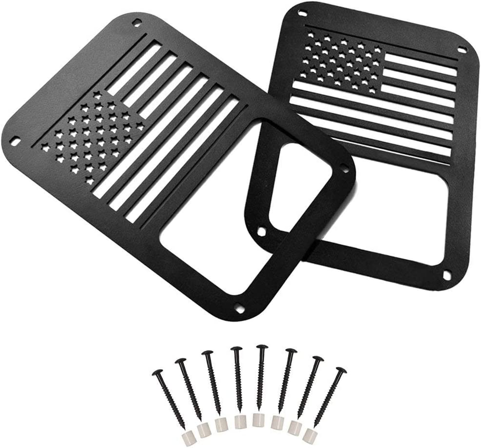 Dealsplaza American US Flag Black Taillight Light Guard Cover for 2007 2008 2009 2010 2011 2012 2013 2014 2015 2016 2017 Jeep Wrangler Accessories Pair