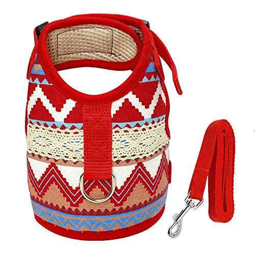 Stock Show 1Pc Pet Dog Vest Harness Leash Set, Printed Jacket Style Basic Halter Harness Breathable Nylon Dog Harness for Small Dogs Puppy Cat, Red Wave (Flower Decor Nylon)