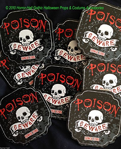Gothic-POISON-BEWARE-SKULL-COASTERS Bar Drink Pirate Party Decorations-8pc - Walking Poker Set Dead