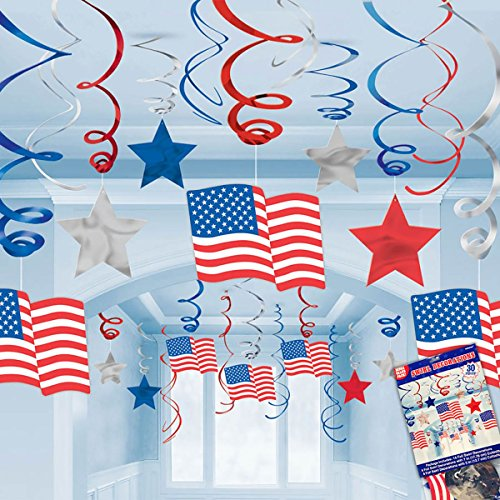 30pc Patriotic Hanging Swirl Decorations