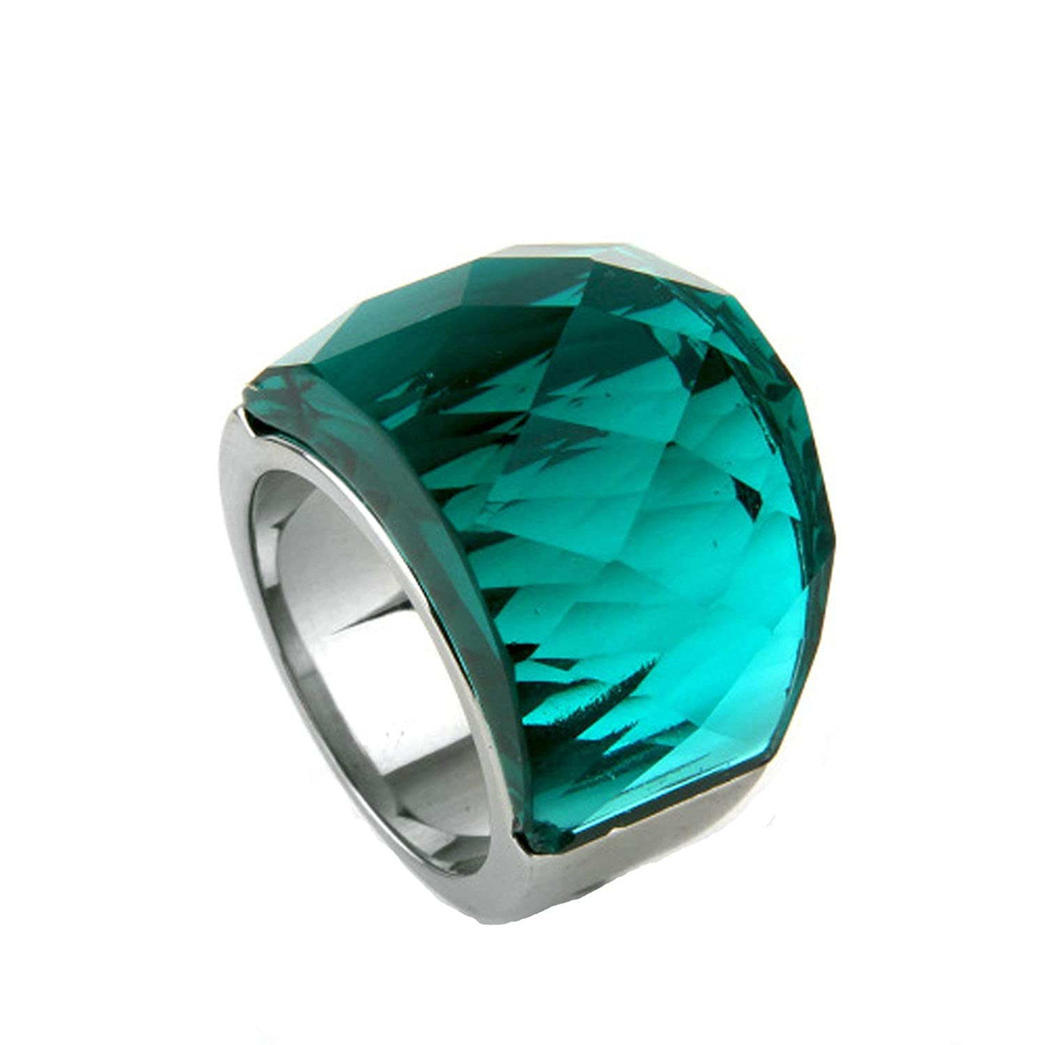 MoAndy Stainless Steel Jewelry Stainless Steel Ring for Female Wedding Ring Round Size 6