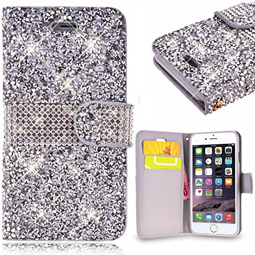 Price comparison product image Huitao 3D Bling Glitter Diamond Leather Flip Wallet Phone Case For iPhone X 8 6 6s 7 7plus/Samsung Galaxy S7 S7 Edge S8 S8 Plus/J3 Eclipse/Amp Prime 2/Express Prime 2Cover Case Capa Silver iPhone X