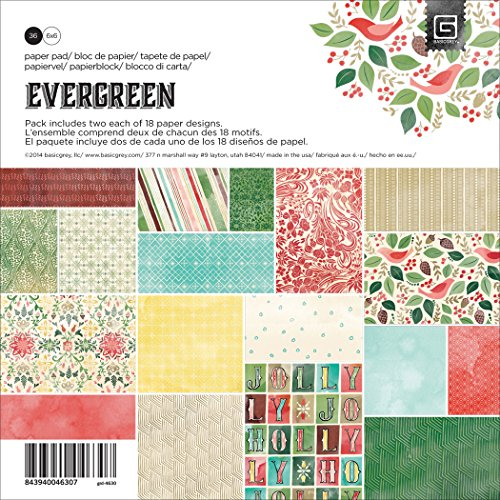 BasicGrey Evergreen Paper Pad for Scrapbooking, 6 by 6-Inch