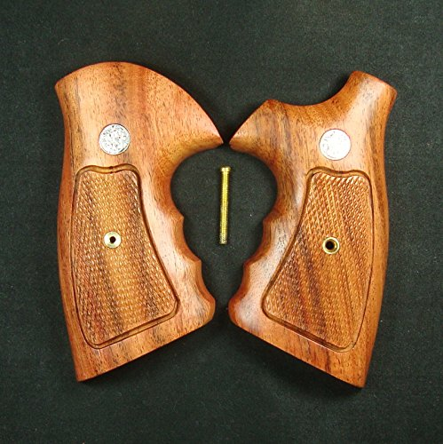 RUAYMAK HANDIWORKGRIPS ROSEWOOD CHECKERED GRIPS SMITH&WESSON REVOLVERS N FRAME, SQUARE BUTT HANDMADE SILVER MEDALLIONS FINGER GROOVE SPORT OUTDOOR SWN-122 by RUAYMAK (Image #4)