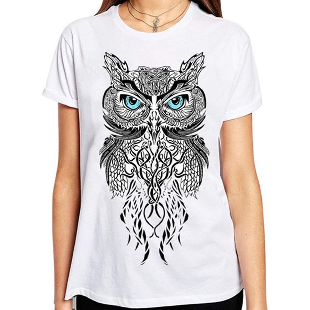 HGWXX7 Women Fashion Print O-Neck Large Size Short Sleeve Tees Blouse Tops T-Shirt(L,White)