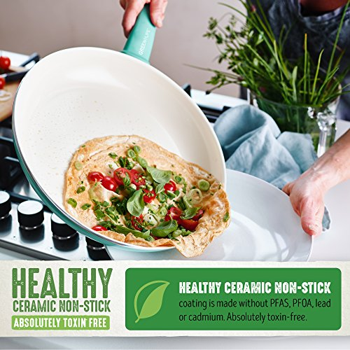 GreenLife CW000531-002 Soft Grip Absolutely Toxin-Free Healthy Ceramic Nonstick Dishwasher/Oven Safe Stay Cool Handle Cookware Set, 14-Piece, Turquoise by GreenLife (Image #3)
