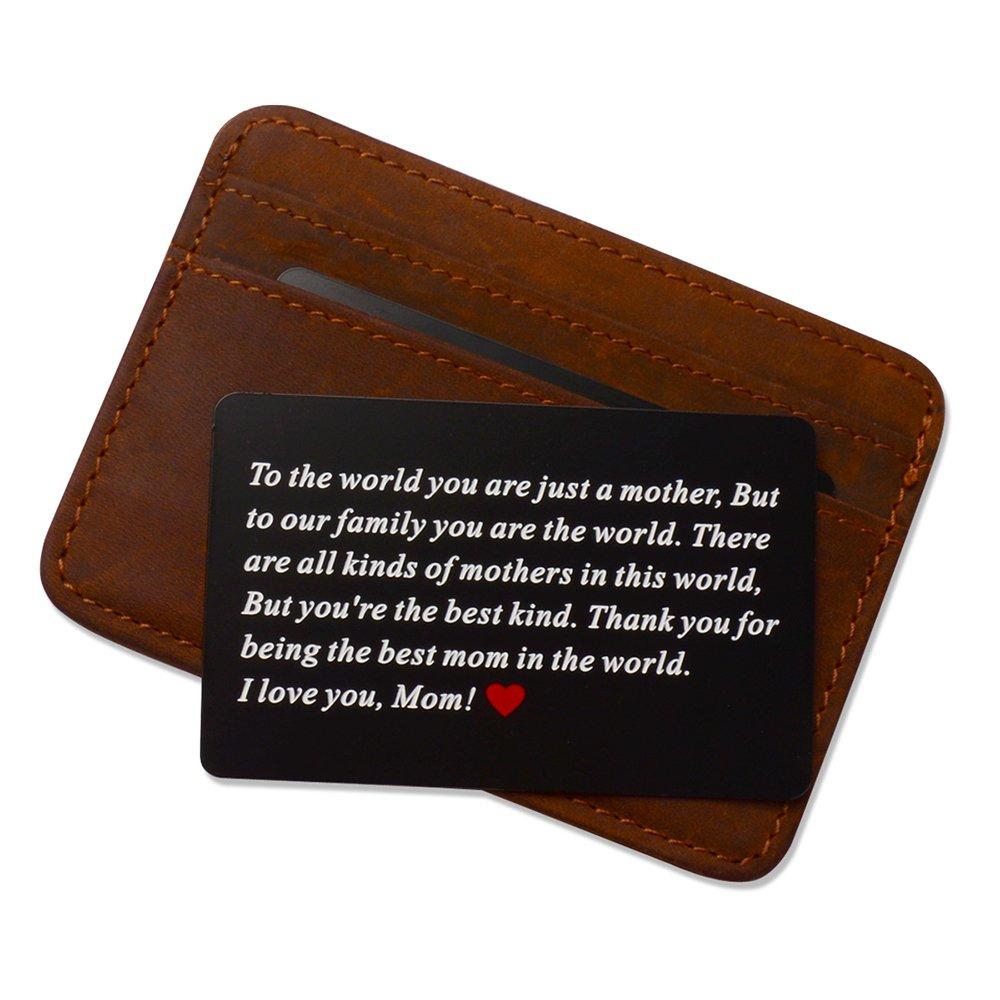Engraved Aluminum Wallet Love Note Insert Metal Wallet Card Insert