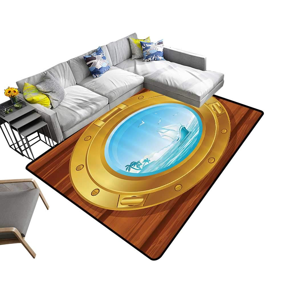 Amazon.com: Silky Smooth Bedroom Mats Ass Porthole Wooden Panel and Palm  Trees Island Birds Waterproof and Easy Clean 24 x 40 inch: Kitchen & Dining