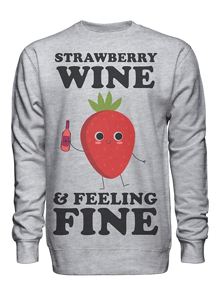 graphke Strawberry Wine and Feeling Fine Unisex Crew Neck Sweatshirt