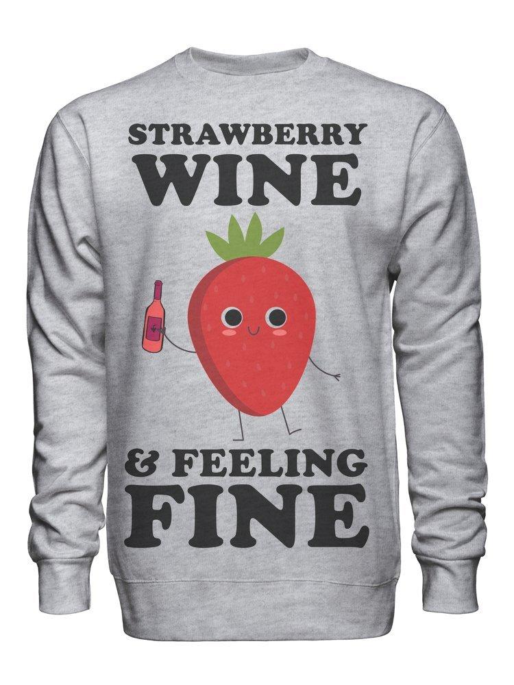 graphke Strawberry Wine and Feeling Fine Unisex Crew Neck Sweatshirt Small