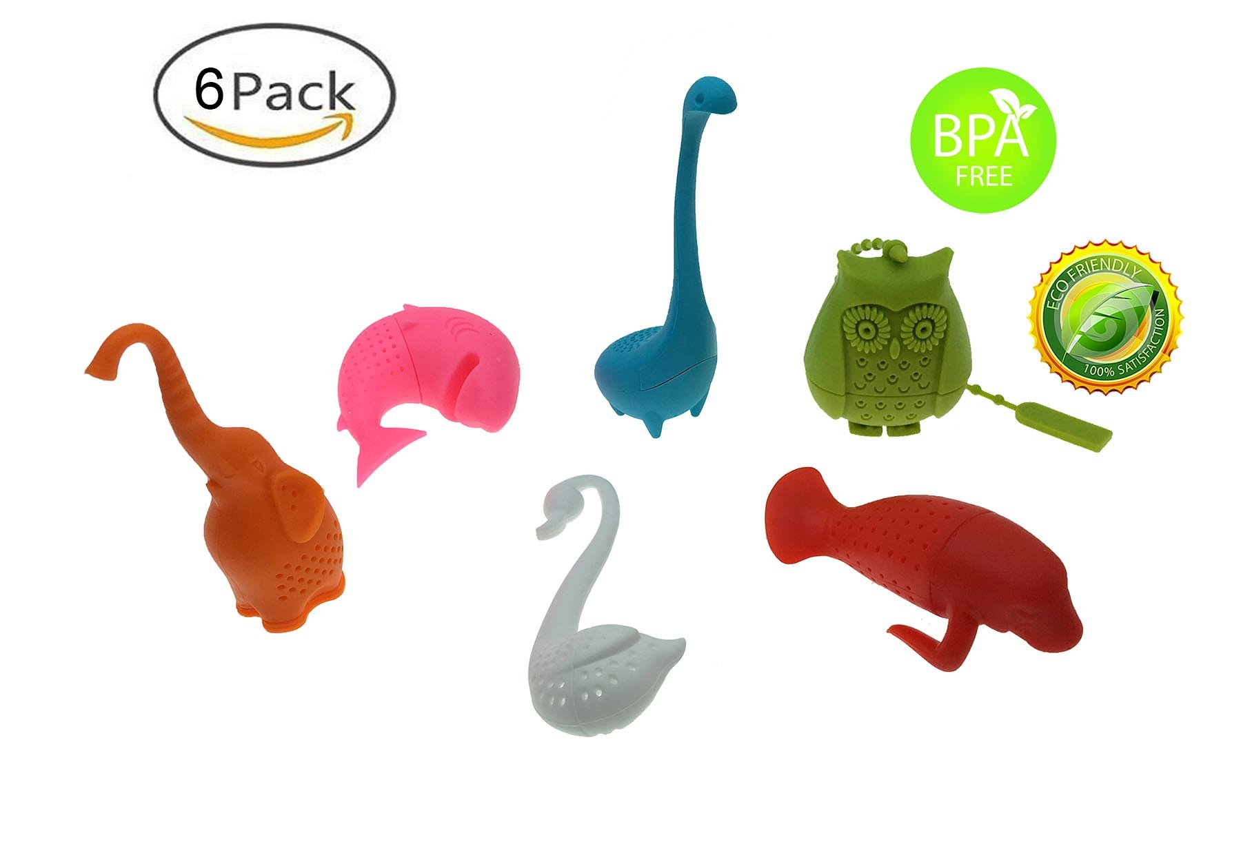 Set of 6 Cute Animal Theme Safe And Non-toxic Silicone Tea Infuser Strainer Tea Filters - Cute Gift For Tea Lovers