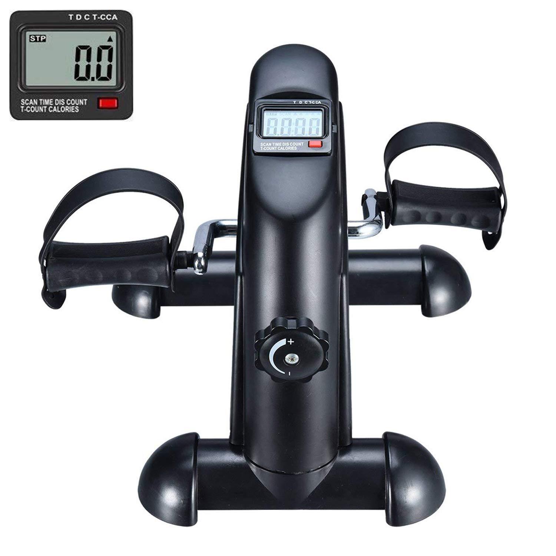 EXEFIT Mini Fahrrad Pedaltrainer für Arm- und Beintrainer Heimtrainer mit LCD-Monitor Weiße … GOTODO