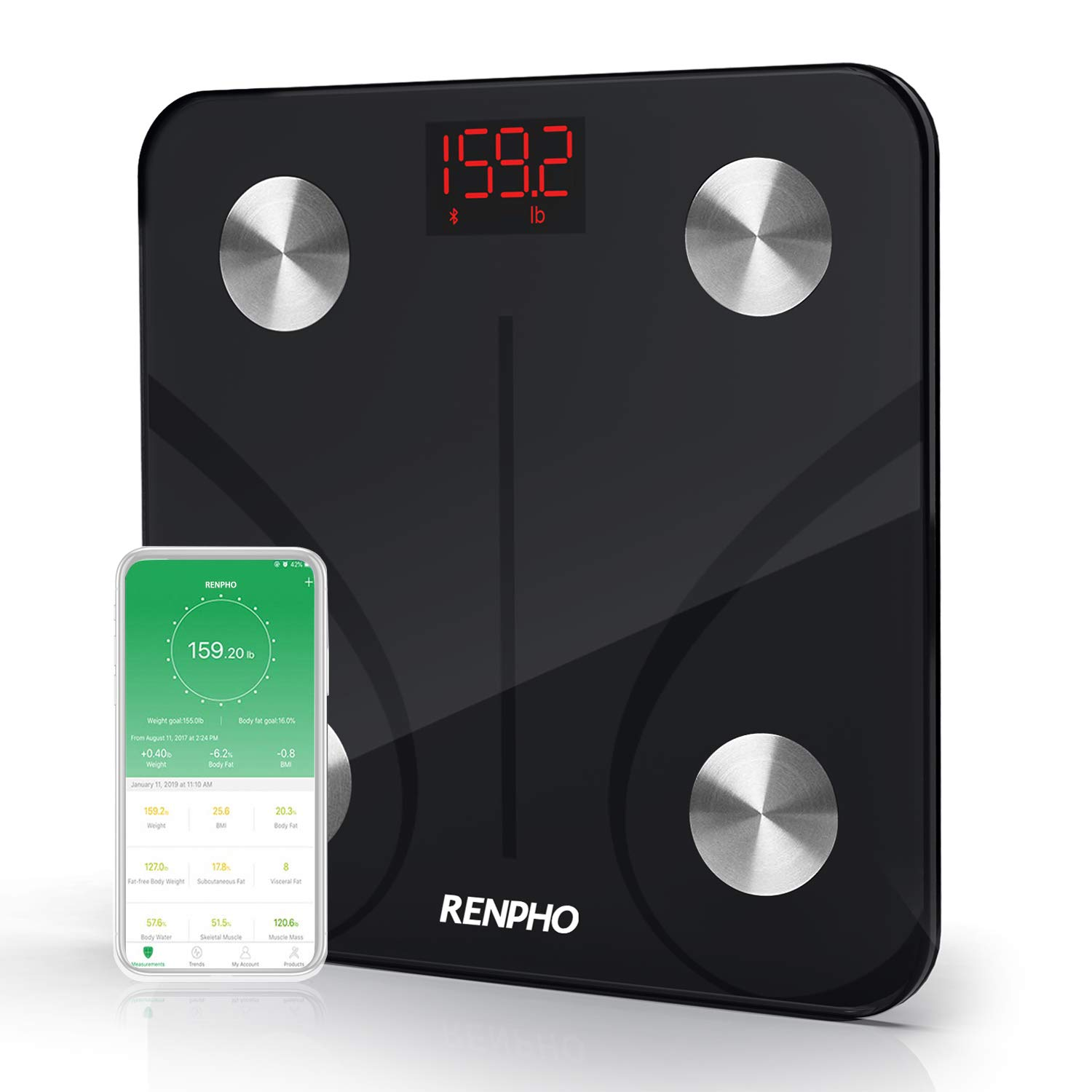RENPHO Bluetooth Body Fat Scale, Smart Digital Bathroom Scale Wireless Weighing Body Composition Analyzer BMI Scale Health Monitor with Smartphone APP, Weight, Body Fat%, 396 lbs/180kg