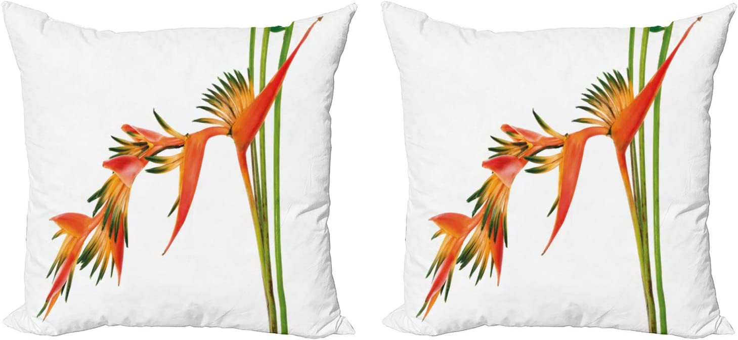 Ambesonne Floral Decorative Throw Pillow Case Pack of 2, Exotic Tropical Flowers on Branch Colorful Nature Jungle Garden Theme Image Print, Couch Bedroom Living Room Cushion Cover, 18