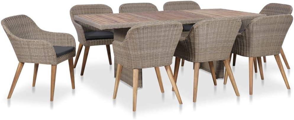 Tidyard Lot de 9 Pcs Mobilier de Jardin (1 Table + 8 Chaises ...