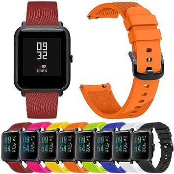 Jiffa Bomu 8X Reloj Deportivo de Silicona Correa Compatible con Huami Amazfit Bip Reloj Juvenil Reloj Inteligente Ajustable Pulsera de Pulsera Reemplazo de ...