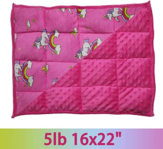 MAXTID Unicorn Weighted Lap Pad for Kids 16x22 5lb Pink Lap Blanket for Children