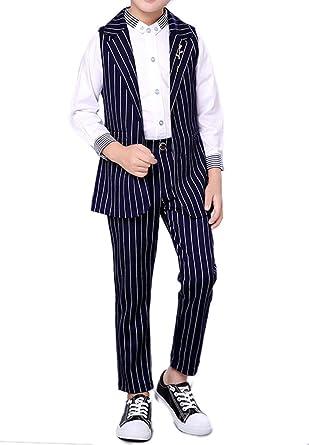 Yewei Boys Cotton Pleated White Dress Shirt Blue Pinstripe Dress Shirt