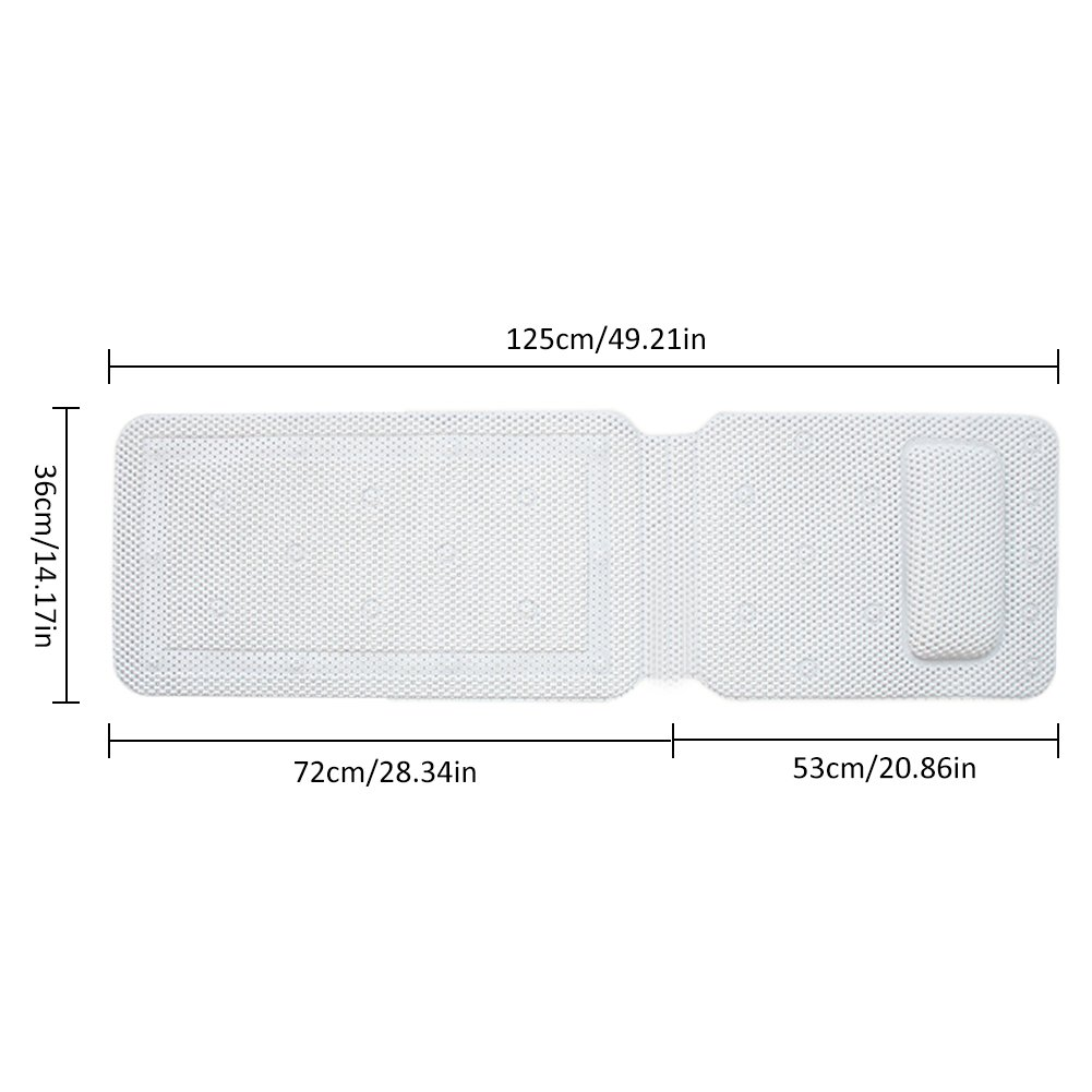 Comfort Head Rest and Back /& Tailbone Support LianLe Full Body Spa Bath Pillow Mat Luxury Soft Quilted Bathtub Cushion Mattress with Non Slip Suction Cups