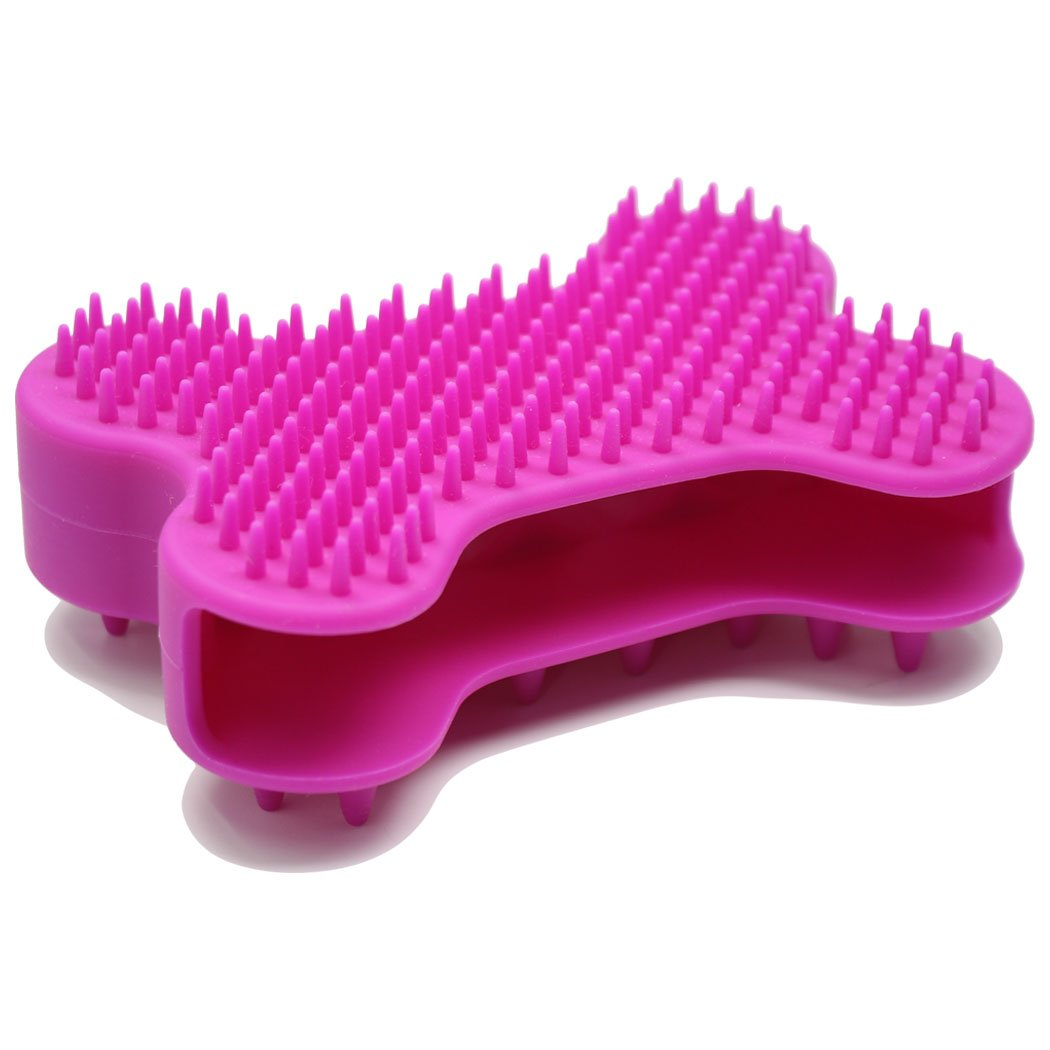 HeeYaa Dog Brush Dog Cat Pet Brushes for Shedding and Grooming Bone Shaped Silicone Dog Glove for Washing Pet Hair Comb for Matted Hair (Purple)