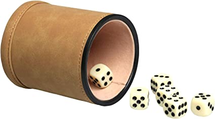 Felt Lined Professional Dice Cup with 6 Dice Quiet for Yahtzee Game