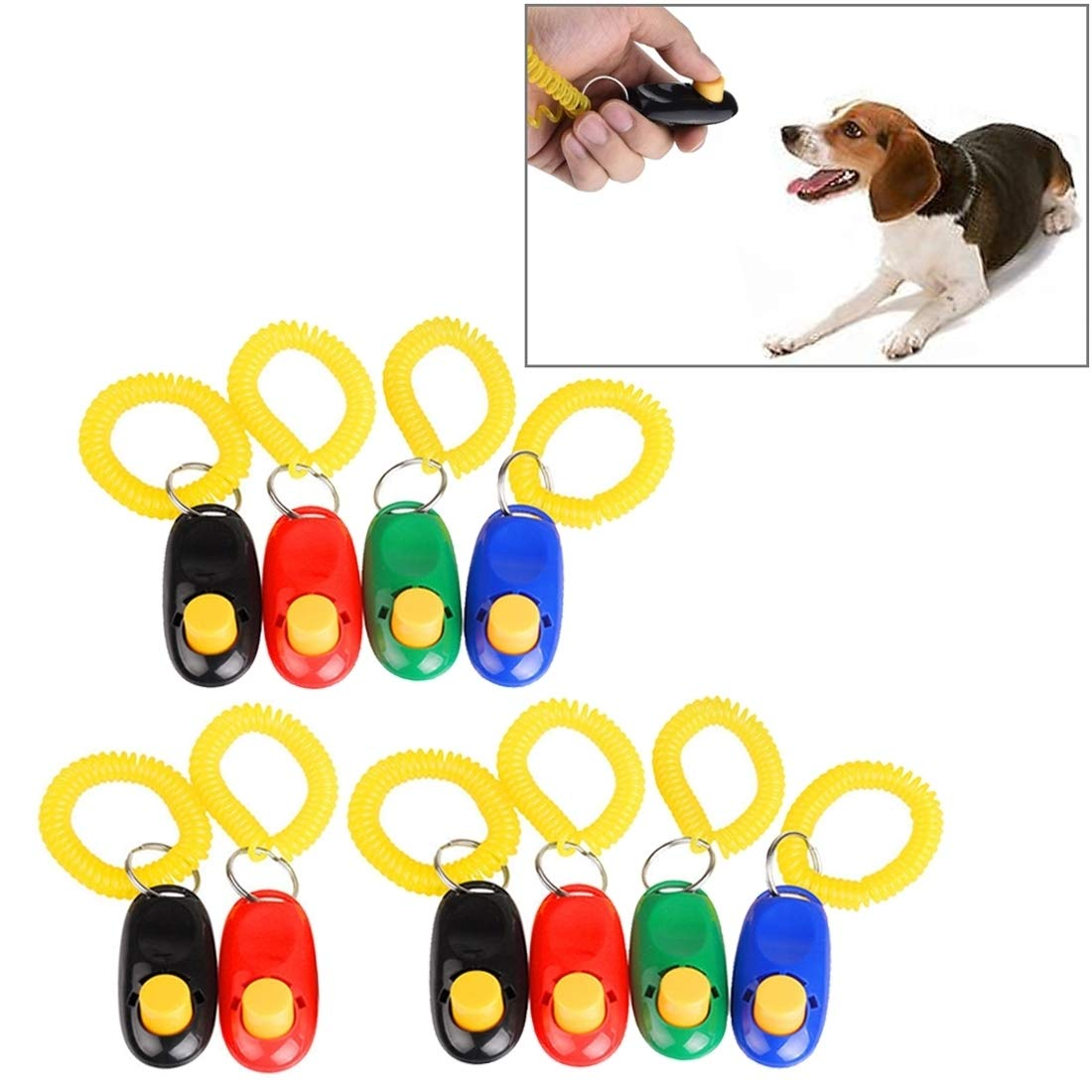 VAXT Random Colour Delivery, 10 PCS Pet Training Clicker Button Dog Training Whistle with Key Chain & Spring Chain
