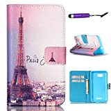 Sony Xperia E4g case, Moonmini® Premium PU Leather Built-in Card with Stand Flip Case Cover for Sony Xperia E4g - Eiffel Tower