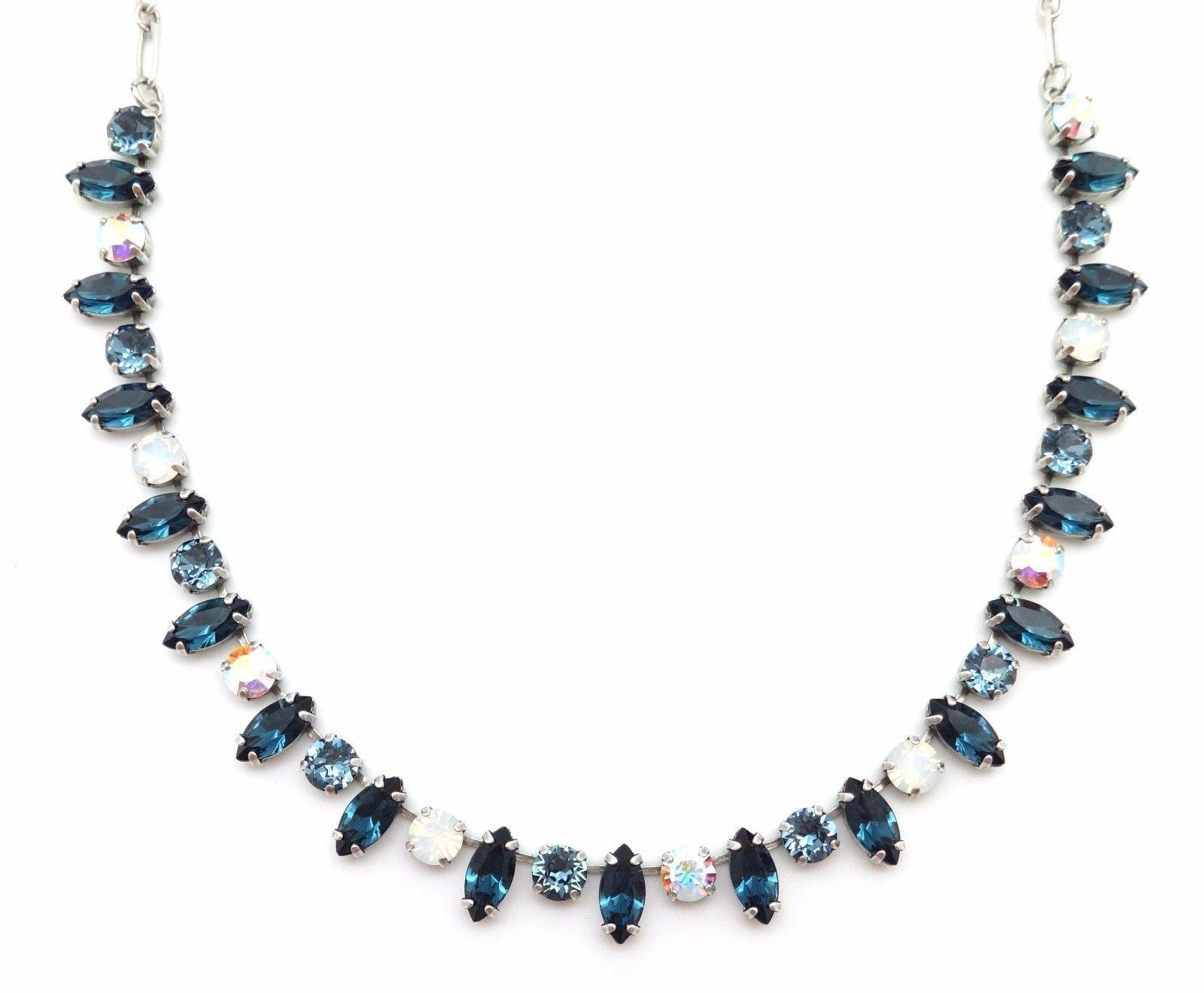 Mariana Silver Plated Swarovski Necklace Blue & White Marquise Round 1069 Mood Indigo