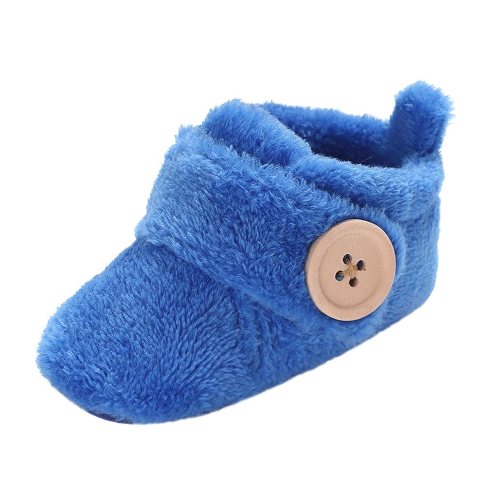 Axinke Winter Soft Warm Cute Baby Boys Girls Newborn Infant Shoes with Button Closure (3-6Month Length:11CM/4.3'', Sky Blue) by Anxinke (Image #1)