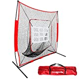 ZENSTYLE 7' x 7' Baseball & Softball Practice Hitting & Pitching Net, Comes with Bow Frame, Carry Bag and Bonus Strike Zone, Great for All Skill Levels