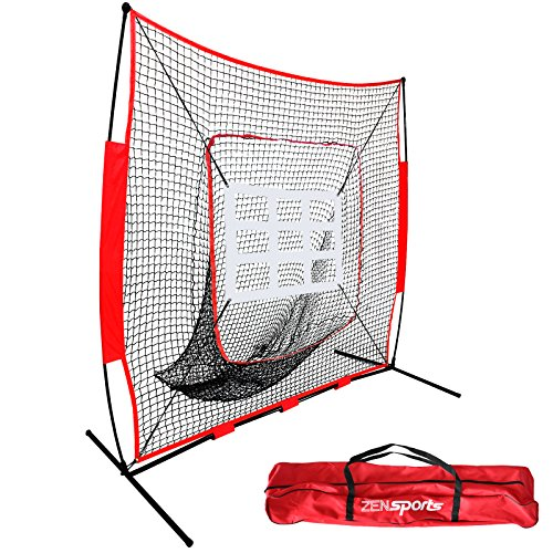 ZENSTYLE 7' x 7' Baseball & Softball Practice Hitting & Pitching Net, Comes with Bow Frame, Carry Bag and Bonus Strike Zone, Great for All Skill Levels by ZENSTYLE
