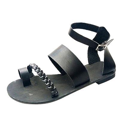 e8515276e0e5 Summer Sandal Sunday77 Buckle Solid Flat Roman PU Casual Soft Sassy Holiday  Beach Summer Shoes for