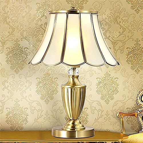 YFF@ILU European Copper Lampen minimalistischen Schlafzimmer Wohnzimmer Lampe Lampe Nachttischlampe American retro Dekoration Studie Schreibtisch Lampe