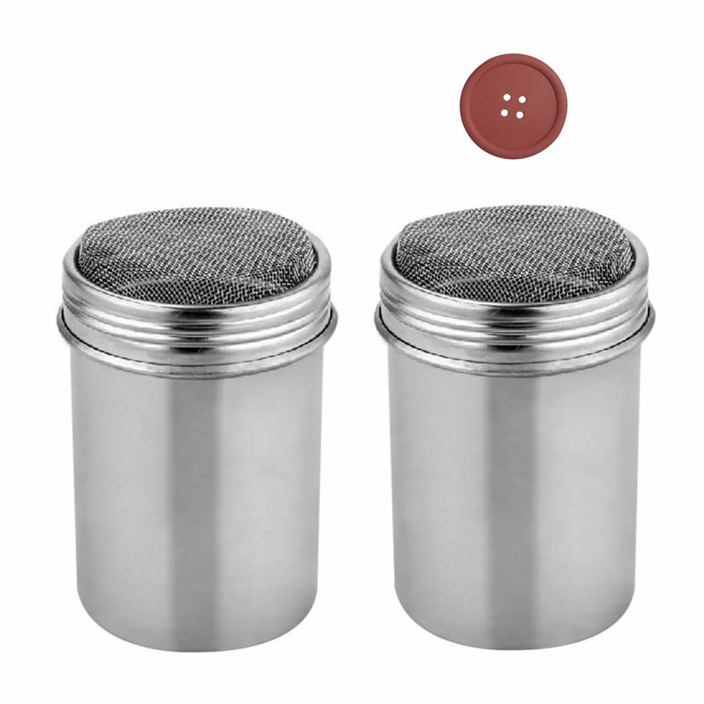 GOOTRADES 2 Pcs Stainless Chocolate Shaker Cocoa Flour Icing Sugar Powder Coffee Sifter Lid with 1 Coaster