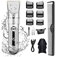 KERUITA Hair Clippers, Quiet LED Display Cordless Rechargeable Hair Trimmers for Men, IPX7 Waterproof Haircut Kit…