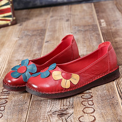 Btrada Womens Vintage Flowers Loafers Soft Round Toe Driving Moccasins Casual Spring Flat Boat Shoes Red QJkhqOTehe