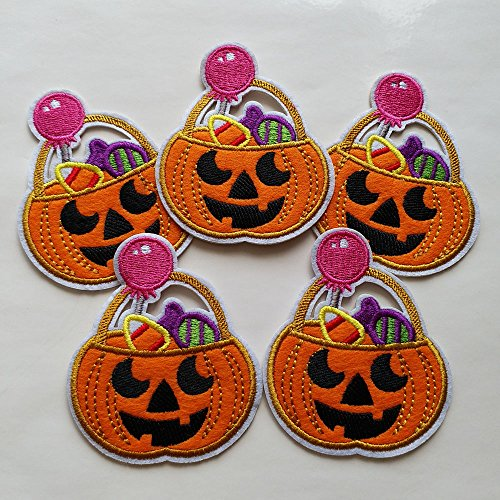 10pcs Halloween pumpkin jack o' lantern pumpkin trick or treat candy bag Iron On Sew On Cloth Embroidered Patches Appliques Machine Embroidery Needlecraft Sewing Projects