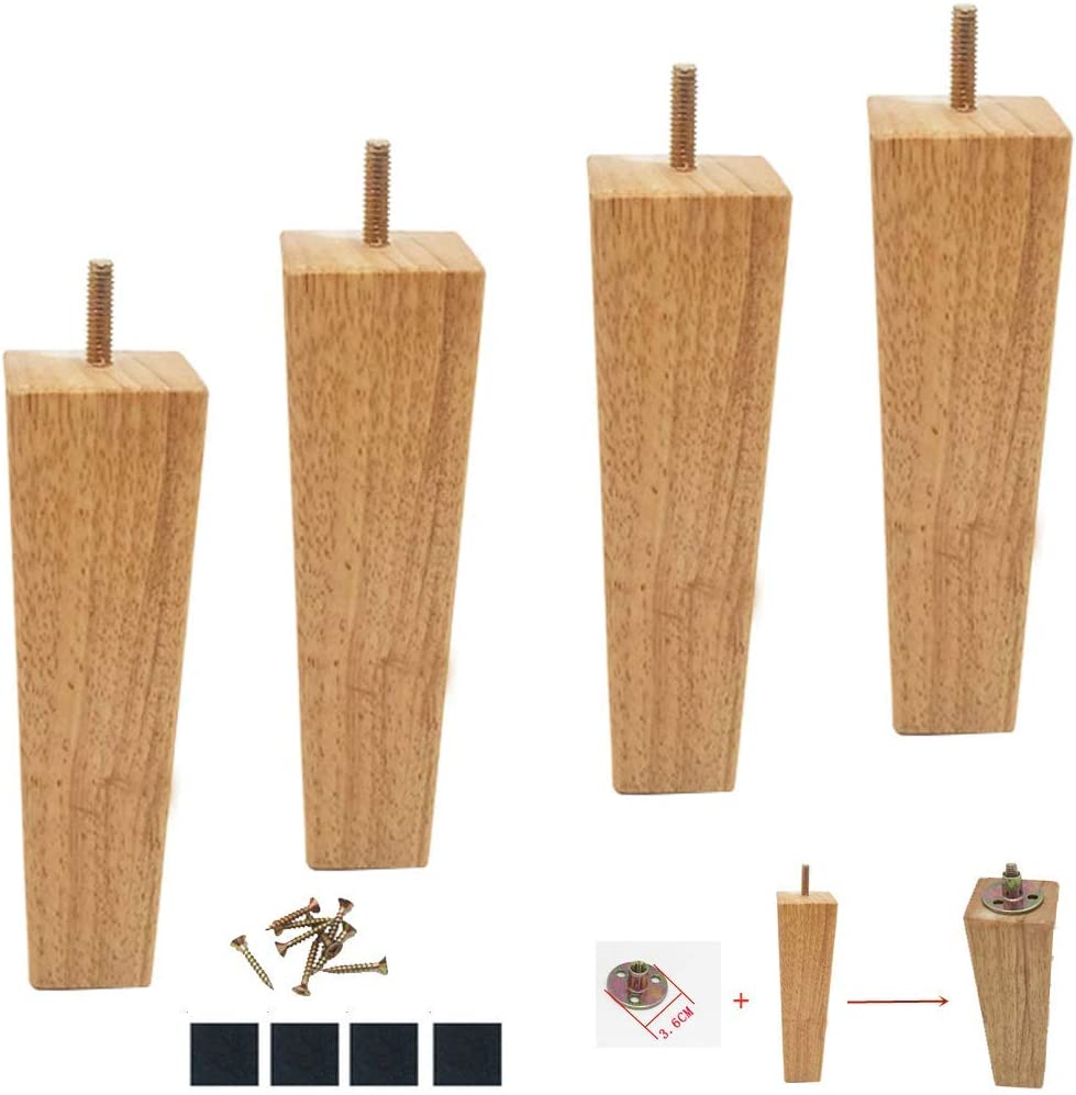 JFFFFWI 4 Solid Wood Finish Furniture Leg,Oak Square TV Cabinet Leg,Tapered Pyramid Replacement Sofa Feet,for Armchair,Dresser,Couch,Coffee Table,Ottoman,Bed,Loveseat,with M8 Bolts & Iron Sheets (5c