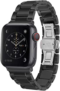 Aottom Compatible for Apple Watch Band 40mm Ceramic iWatch Band 38mm Men Women Stainless Steel Metal Butterfly Buckle Wristband Replacement Band for 38mm/40mm Apple Watch SE Series 6/5/4/3/2/1, Black