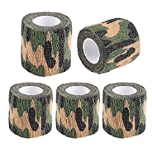 Camouflage Wrap Tape Waterproof Camo Stealth Tape Stretch Bandage 5 Rolls Self-adhesive Non-woven for Cycling, Hunting Gun, Knife Handles, Telescope, Camera
