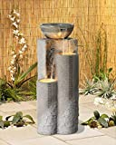 """Faux Marble Bowl & Pillar 34 1/2""""H Indoor-Outdoor Fountain"""