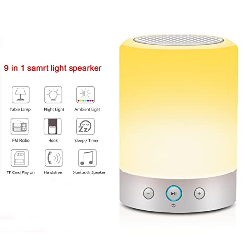 KuGi Bedside Lamp, Wireless Bluetooth Speaker - L7 Portable 4W Bluetooth Speaker with Touch Sensor LED Table Lamp + Dimmable Warm White Light & Color Changing RGB Night light.(White)