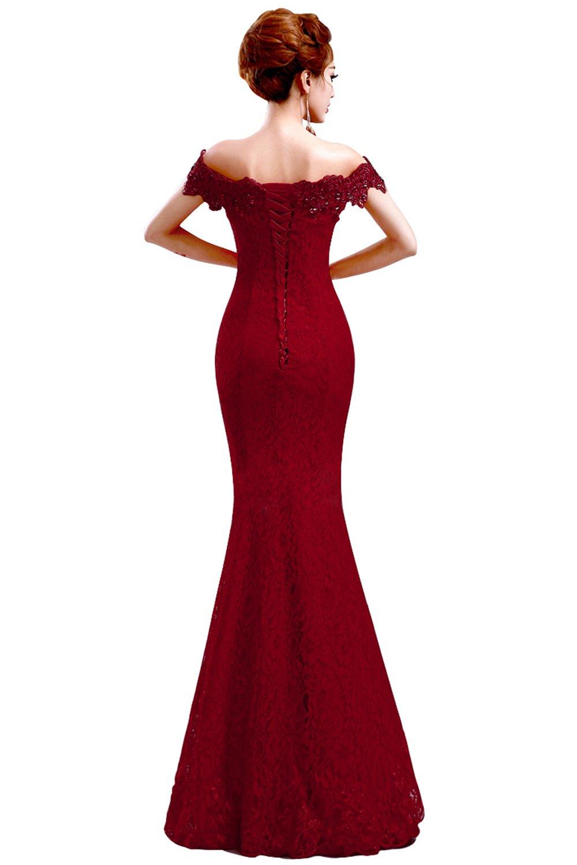 Babyonlinedress off shoulder mermaid lace burgundy Prom dress  Burgundy  10 by Babyonlinedress (Image #2)
