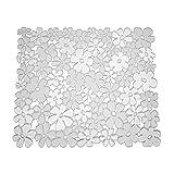 mDesign Floral Kitchen Sink Protector Mat, Divider