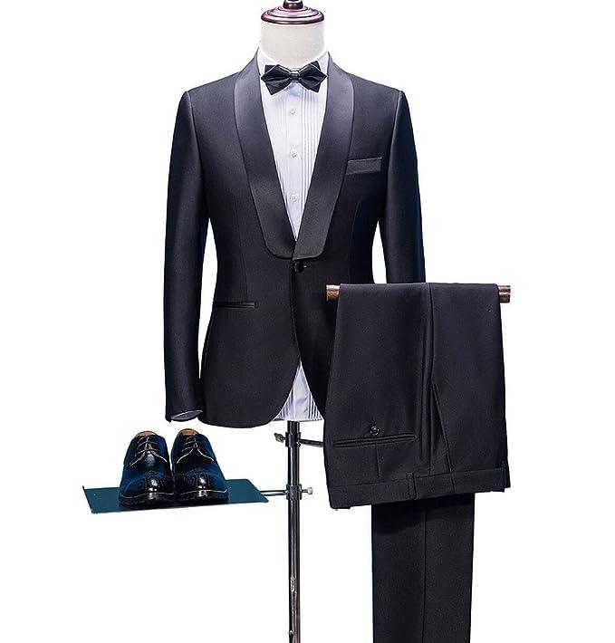 fc19e47e133 Yunjia Classic Fit Luxurious Black Shawl Lapel Mens Tuxedo Suit Blazer  Jacket Pants 2 Pieces  Amazon.ca  Clothing   Accessories