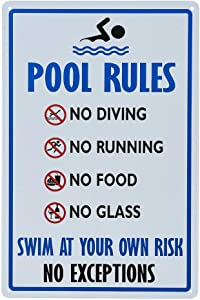 dojune-Pool Rules Sign, No Diving No Running No Food No Glass, 8x12 Rust Free UV Printed, Easy to Mount