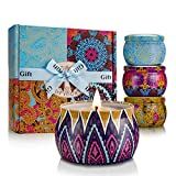 YINUO LIGHT Mandala Pattern Scented Candles Gift Set, Soy Wax Portable Travel Tin Candles, for Women Stress Relief and Aromatherapy Relaxation, 4 x 4.4 Oz, 120 Hours