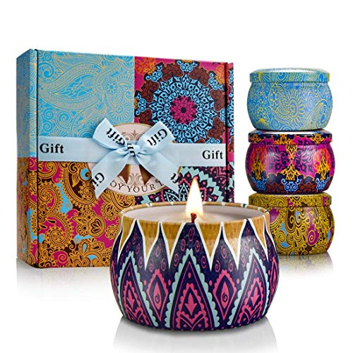 YINUO LIGHT Scented Candles Gift Set, 100% Soy Wax Portable Travel Tin Candles, Women Gifts for Stress Relief and Aromatherapy Relaxation, 4 x 4.4 Oz